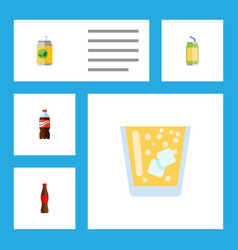 Flat icon drink set of beverage bottle drink and vector