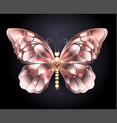 butterfly in pink gold vector image