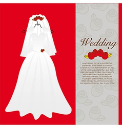 Wedding dress wedding invitation vector