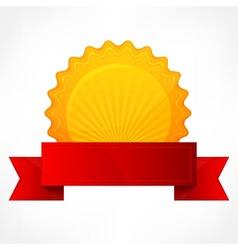 Golden award with ribbon vector image