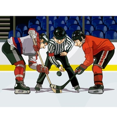 Cartoon hockey throwing the puck vector