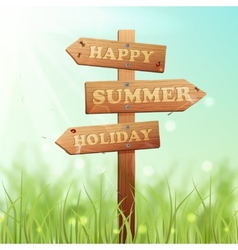Wooden Sign Summer vector image