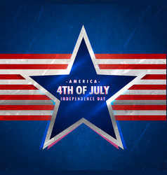 4th of july background with star and red stripes vector image
