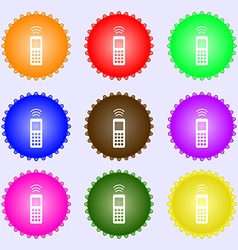 Remote control icon sign a set of nine different vector