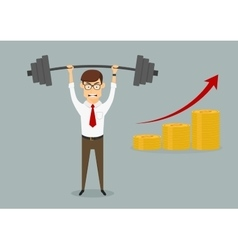 Businessman holding heavy dumbbell above head vector