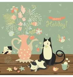 Still-life with a bouquet of flowers and cats vector