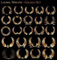 laurel wreath - golden set vector image