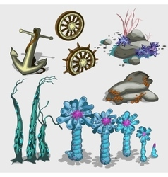 Underwater plants anchor and ship wheel vector