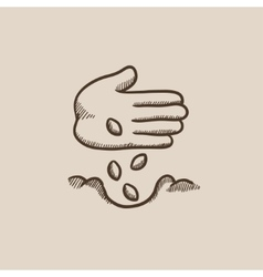 Hand planting seeds in ground sketch icon vector