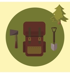 Small camping set backpack ax spade vector