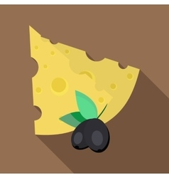 Cheese and olives icon flat style vector