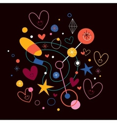 Abstract art with cute hearts 2 vector