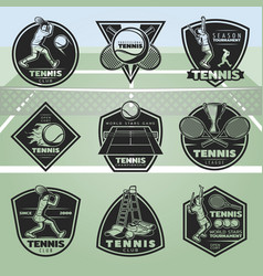 black vintage tennis labels set vector image vector image
