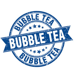 bubble tea round grunge ribbon stamp vector image vector image
