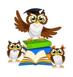 cheerful school owl vector image vector image