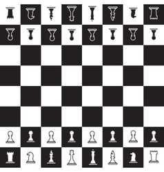 Chessboard with black and white oposite chess vector
