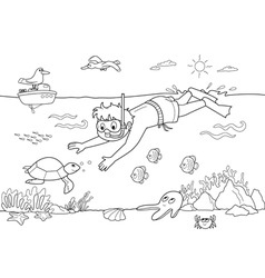 child underwater vector image vector image