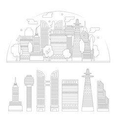 city silhouette and skyscrapers isolated vector image vector image