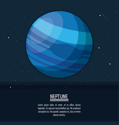 Colorful poster with planet neptune vector
