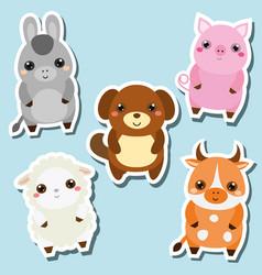 Cute kawaii farm animals stickers set vector