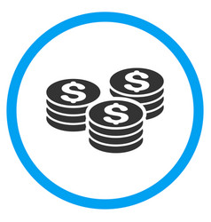Dollar coin stacks rounded icon vector
