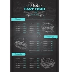 Drawing vertical scetch of fast food menu vector image vector image