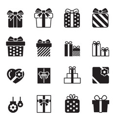 gift box icons set on white background vector image vector image
