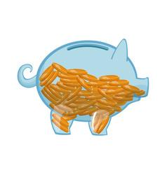 Glass piggy full coins money safety vector