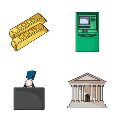 Gold bars atm bank building a case with money vector