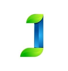J letter leaves eco logo volume icon vector image