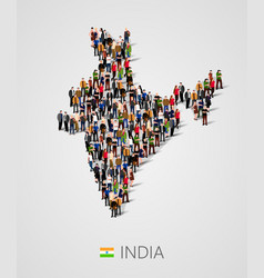 large group of people in india map form vector image