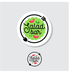 Logo salad bar cafe restaurant emblem vector