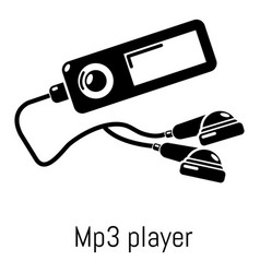 Mp3 player icon simple black style vector