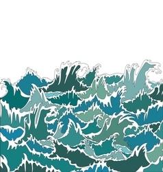 Ocean storm green waves vector