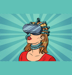 pop art woman in virtual reality gadget parasite vector image vector image