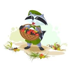 Raccoon holding basket full of berries vector image
