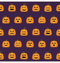 Seamless halloween pumpkin faces pattern vector