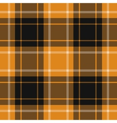 Seamless orange black tartan with white stripes vector