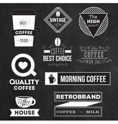 Set of badges labels and logo elements for coffee vector image vector image