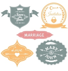 Set of vintage wedding labels for invitations vector image