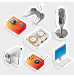 Sticker icon set for entertainment devices vector image vector image