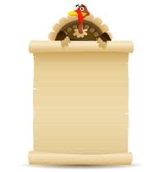 Thanksgiving turkey holding parchment scroll menu vector