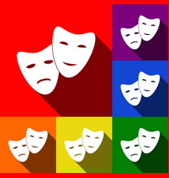 Theater icon with happy and sad masks set vector