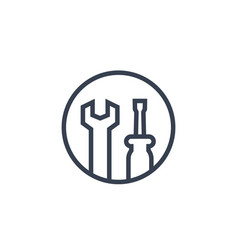 Tools icon wrench and screwdriver in circle vector