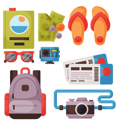 Travel time summer vacation accessory in vector