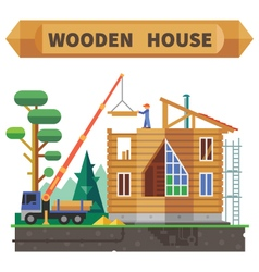 Wooden house in the forest vector