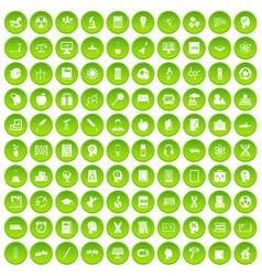 100 education icons set green circle vector