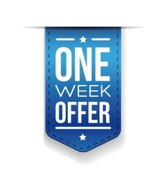 One week offer blue ribbon vector