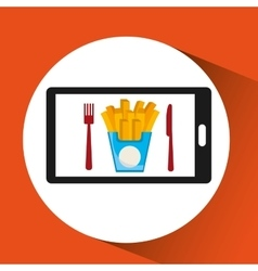 Smartphone order french fries food online vector