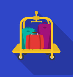 Luggage cart icon in flat style isolated on white vector